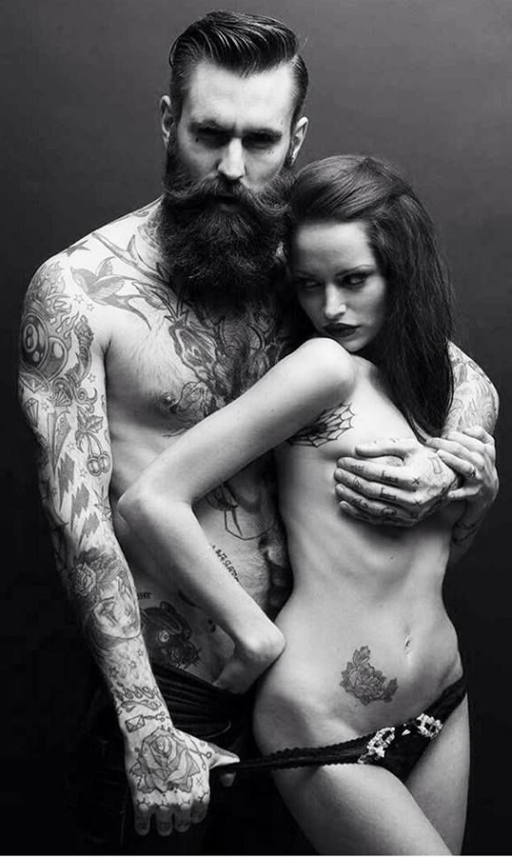Beard and Hottie Couple tattoo