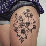 Beautiful Flower tattoo on Hip