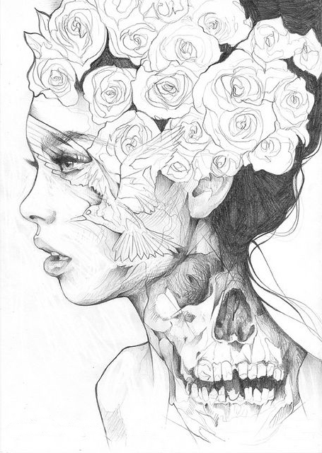 Beautiful Lady Essense tattoo sketch