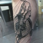 Bicycle Wheels Reflection Graphic tattoo idea