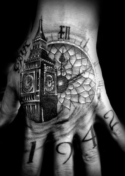 Big Ben Tower Clock tattoo by Westfall Tattoo
