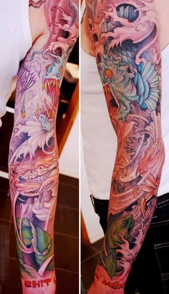 Big Waves Crab and Sea Devil tattoo sleeve