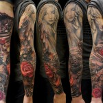 Biker Angel Girl tattoo sleeve by Andrey Barkov