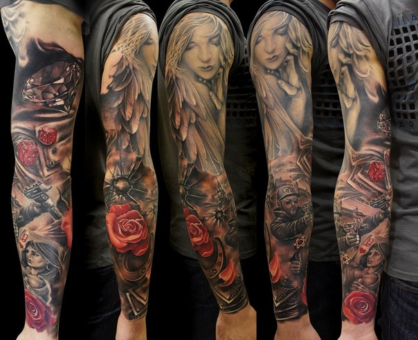 Biker Angel Girl tattoo sleeve