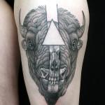Bison Head Skull Dotwork tattoo by Jan Mràz