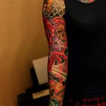 Black Background Nautical tattoo sleeve