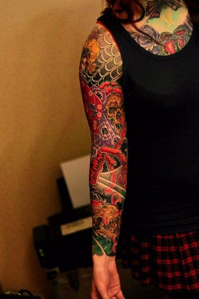 Black Background Nautical tattoo sleeve