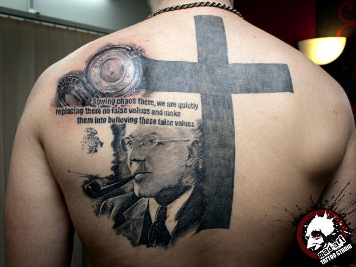 Black Cross Quote tattoo by Mad-art Tattoo