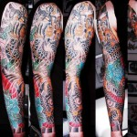 Black Japanese Dragon and Blue Lotus tattoo sleeve