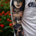 Black Veil  Dark Angel Blackwork tattoo sleeve
