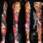 Black Watter Pink and Yellow Lotus Flowers tattoo sleeve