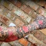 Black and Red Mandala Dotwork tattoo sleeve