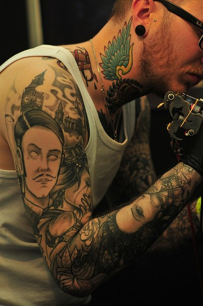 Face Sleeve Tattoo: Black And White Faces Tattoo Sleeve