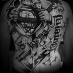 Black and White Superman Trash Poolka tatoo by Westfall Tattoo