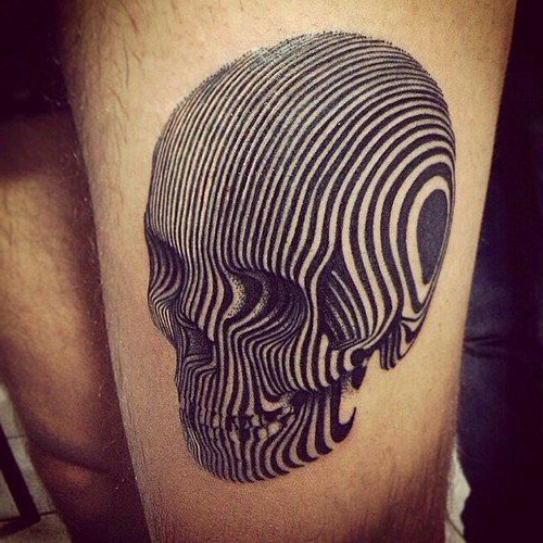 Blackwork 3d Illusion Scull tattoo
