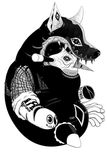 Blackwork Costume tattoo sketch