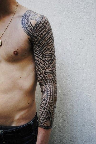 Blackwork Maori Ethnic Tracery tattoo sleeve