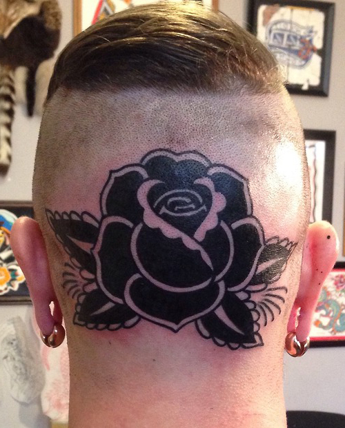 Blackwork Rose head tattoo design