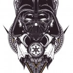 Blackwork Vader tattoo sketch