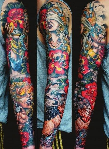 Blind Rage Pistol Girl tattoo sleeve