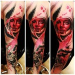 Blood Mask Trash Polka tattoo