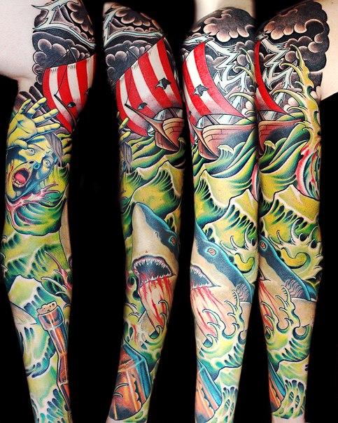 Bloody Shark and Sea Storm Ship tattoo sleeve
