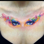 Blue Eyes Chest Aquarelle tattoo by Adam Kremer