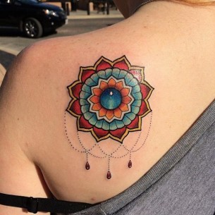 Blue Gem Mandala tattoo by Last Angels Tattoo