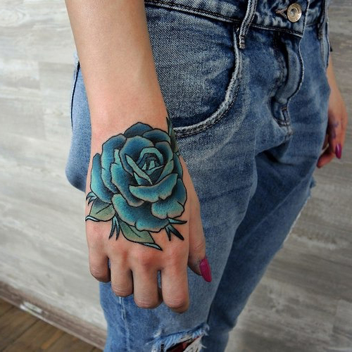 Blue Rose Flower Tattoo on the Back of Hand