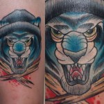 Blue Tiger Bandit New School tattoo by Last Angels Tattoo