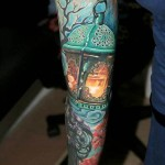 Blue lantern Japanese tattoo sleeve