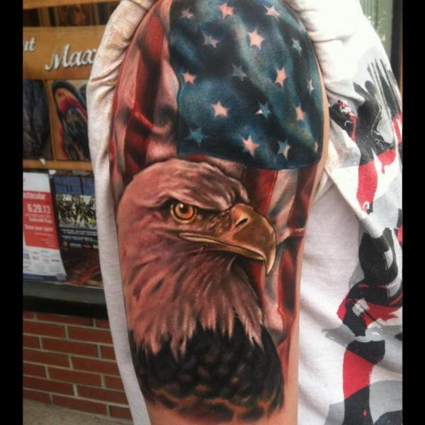 Tattoo Designs Usa: Bold Eagle And American Flag Tattoo