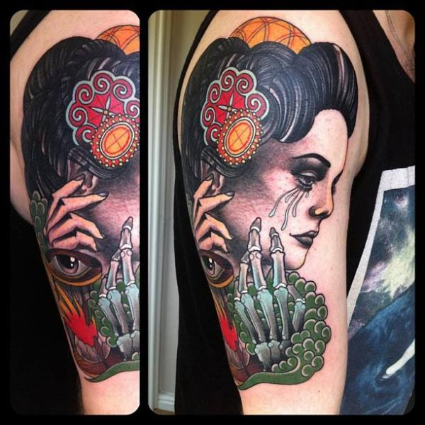 Bone Hand Tears New School tattoo by Marked For Life