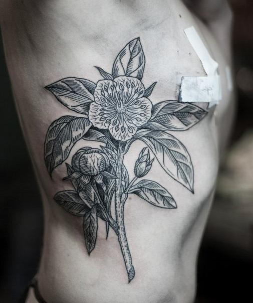 Bookish Flower Graphic tattoo idea on Torso Side