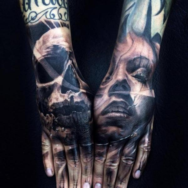 Both Hands Face and Scull tattoo by Jak Connolly