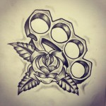 Brass Knuckles Old School tattoo sketch