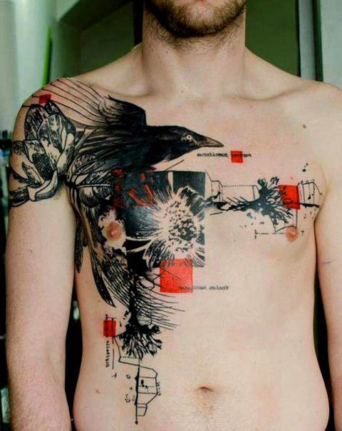 Breaking Heart Raven Trash Polka tattoo