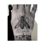 Brixton Lettering Bee tattoo by Dr Woo