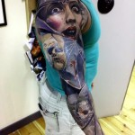 Broken Glass Zombie Kids tattoo sleeve