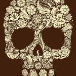 Brown Flower Skull tattoo sketch