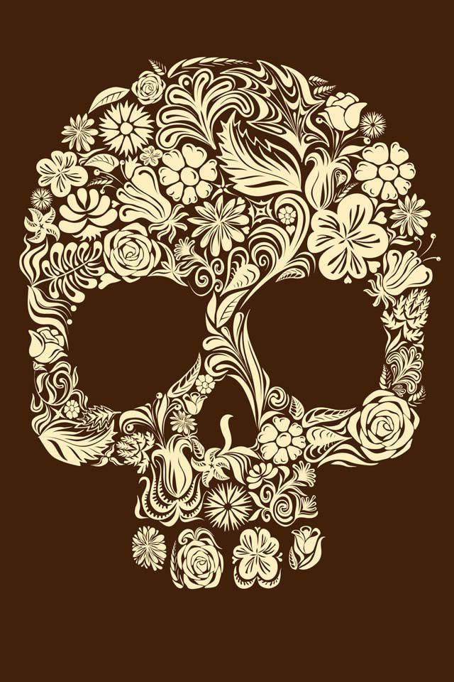 Brown Flower Scull tattoo sketch