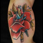 Brush and Pencil Rose tattoo by White Rabbit Tattoo