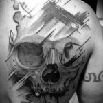 Brush Strokes Trash Polka Skull tattoo by Westfall Tattoo