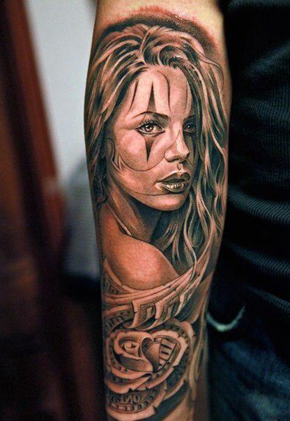 Bucks Rose Girl Chicano tattoo