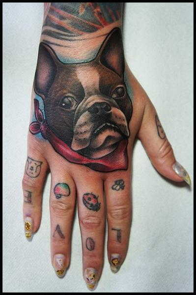 Bulldog Back of Hand tattoo by White Rabbit Tattoo