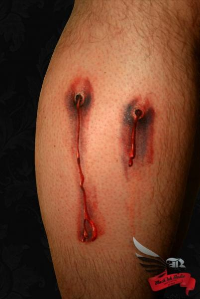 Bullet Holes 3D tattoo by Black Ink Studio
