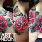 Butterfly Rose tattoo by The Art of London