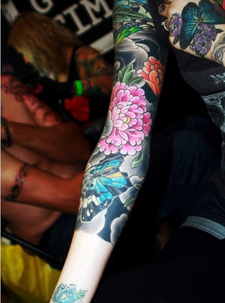 Butterfly and Pink Flower tattoo sleeve