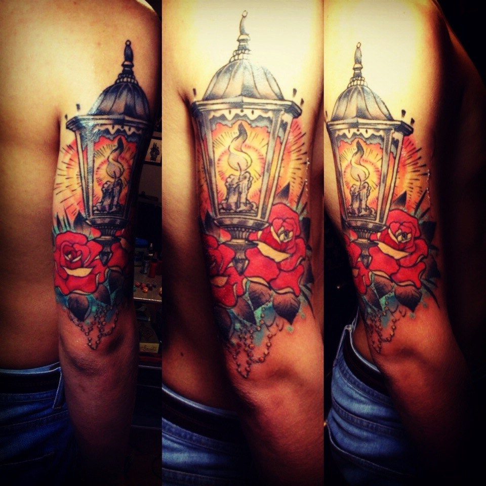 Candle Lantern New School tattoo