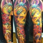 Candle Skulls New School tattoo by Marked For Life